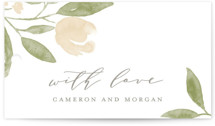 This is a green wedding favor tag by Oscar & Emma called Lovely Beginning with standard printing on signature in tag.