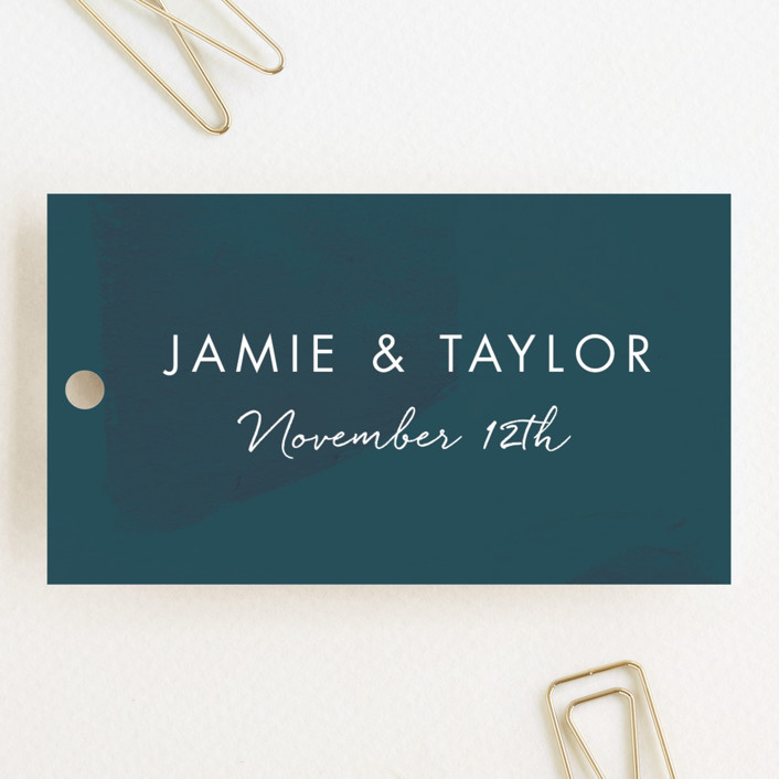 """Deep Ocean Currents"" - Wedding Favor Tags in Teal by Makewells."