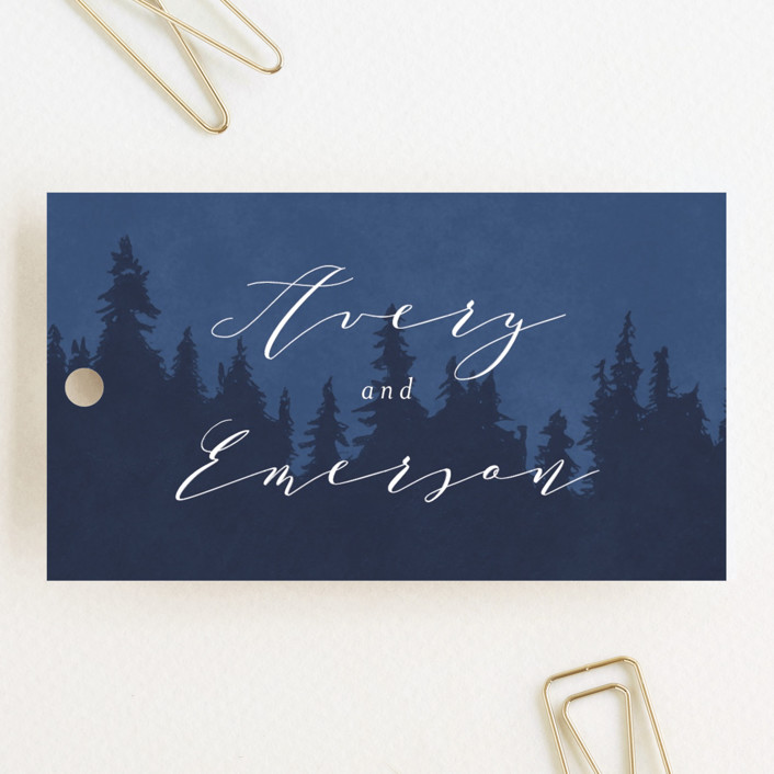 """Aspen"" - Wedding Favor Tags in Midnight by Kristie Kern."