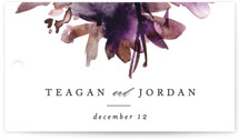 This is a purple wedding favor tag by Lori Wemple called Shimmer with standard printing on signature in tag.