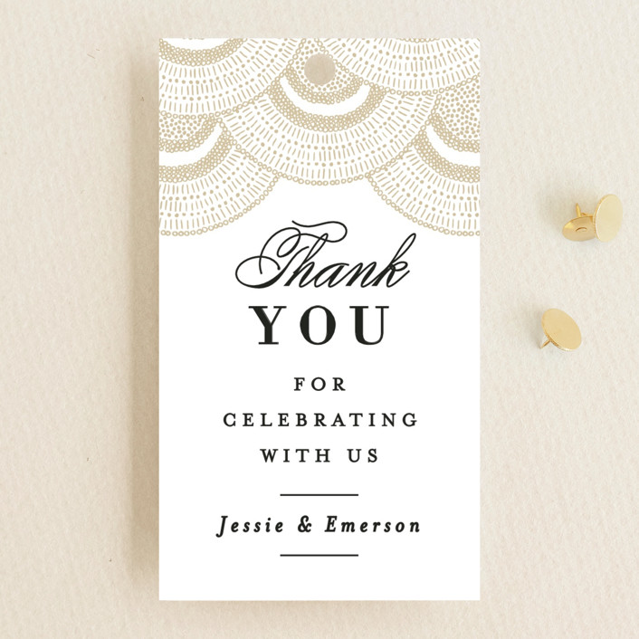 """""""Deco Fringe"""" - Wedding Favor Tags in Gold by Alethea and Ruth."""