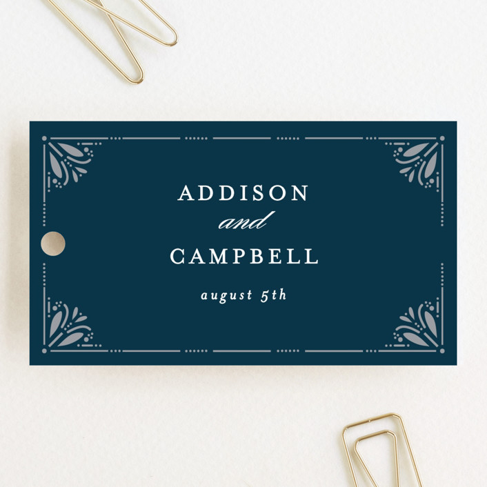 """Victorian Frame"" - Wedding Favor Tags in Marine by Bethan."