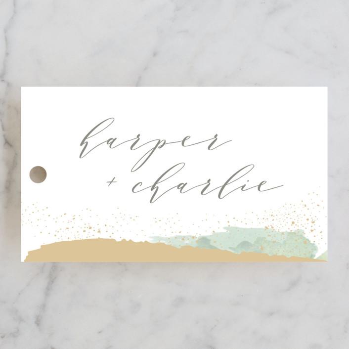 """Tide"" - Wedding Favor Tags in Ocean by Carolyn Nicks."