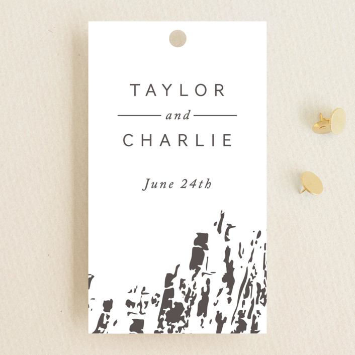 """""""Timber"""" - Wedding Favor Tags in Gold by Kimberly Morgan."""