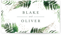 This is a gold wedding favor tag by Kristie Kern called Sparkling Ferns with standard printing on signature in tag.