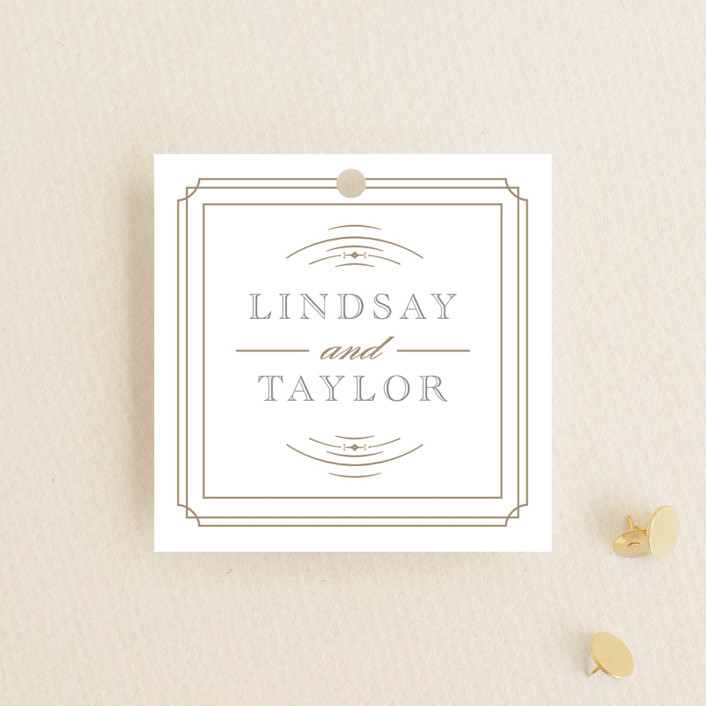 """""""Gilded Gala"""" - Wedding Favor Tags in Mist by Kristen Smith."""