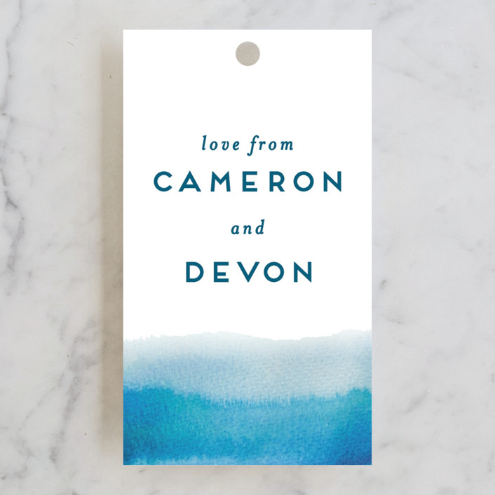 """Tide Pools"" - Modern Wedding Favor Tags in Sea by Krissy Bengtson."