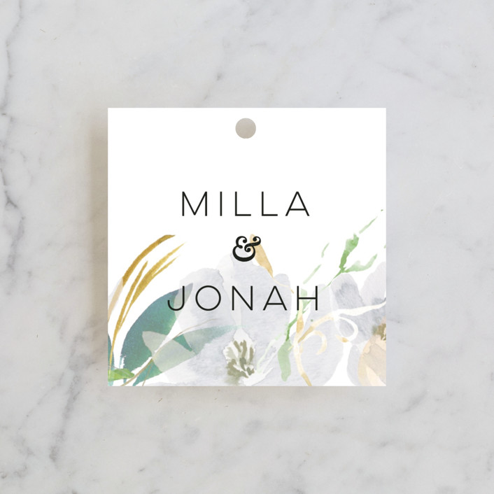 """Grande Botanique"" - Wedding Favor Tags in Mist by Bonjour Paper."