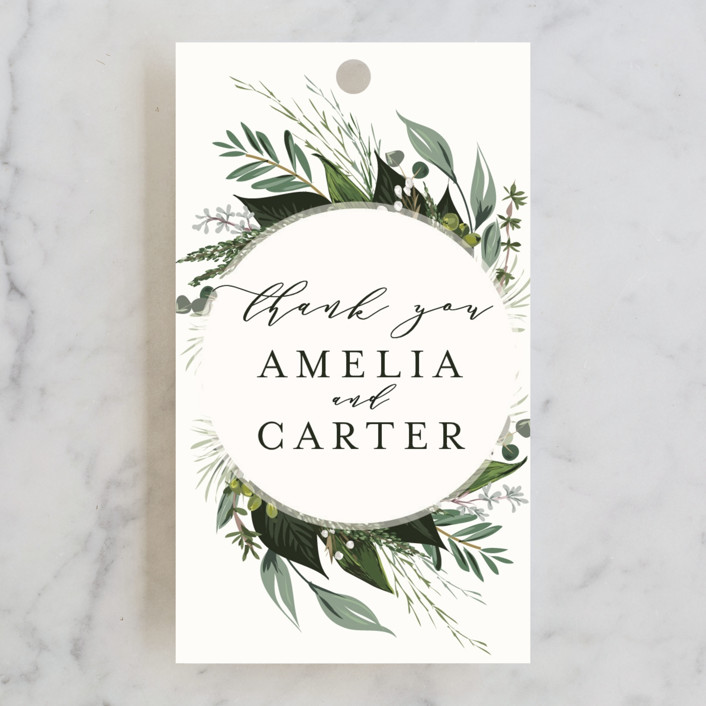 """""""Natures Greens"""" - Wedding Favor Tags in Ivory by Susan Moyal."""