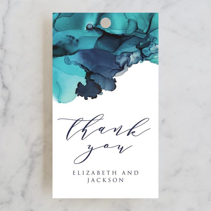 """Modern Tide Pools"" - Wedding Favor Tags in Turquoise by Erin Deegan."