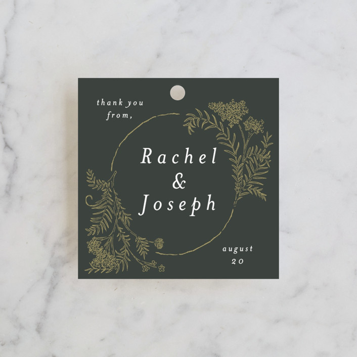 """Lacy Meadow Ovals"" - Wedding Favor Tags in Gold Leaf by Shiny Penny Studio."