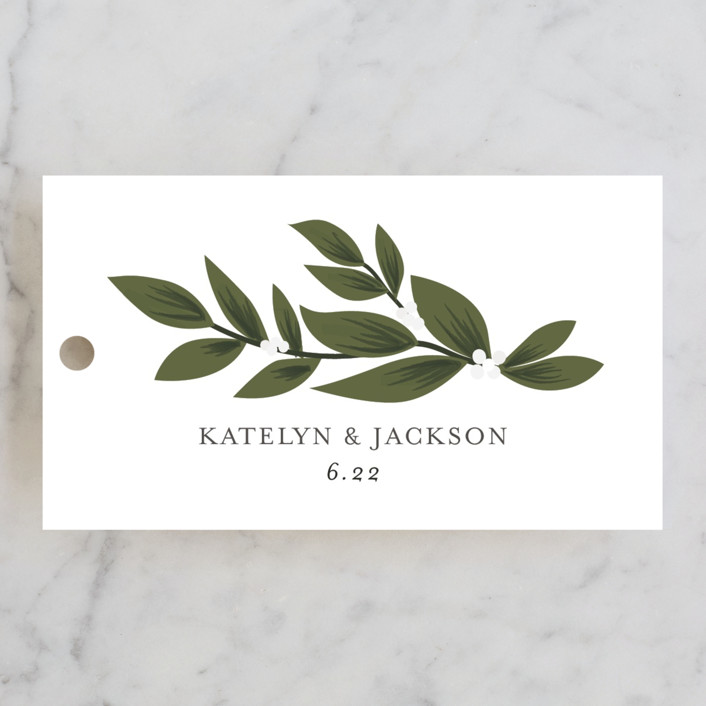 """Laurels Frame"" - Wedding Favor Tags in Greenery by Itsy Belle Studio."