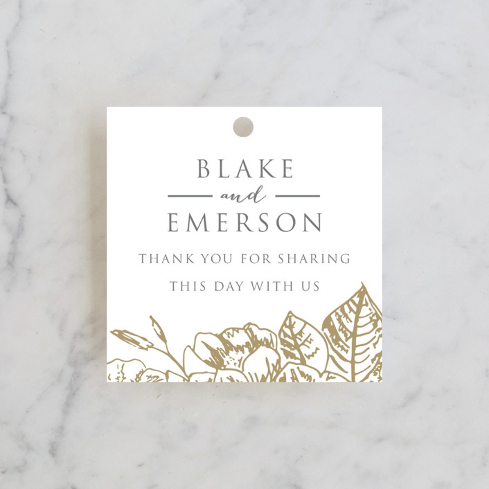 """Gilded Wildflowers"" - Wedding Favor Tags in Gold by Smudge Design."