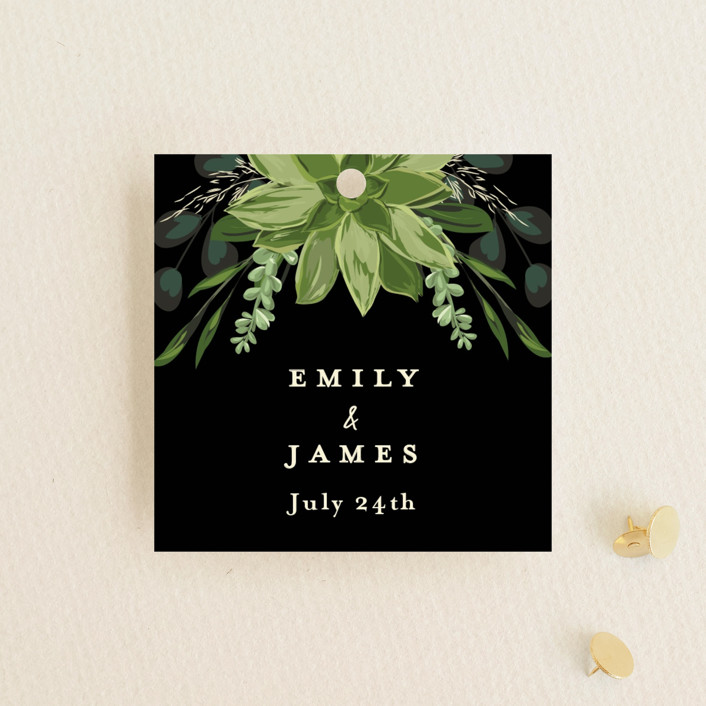 """""""Agave & Greens"""" - Wedding Favor Tags in Midnight by Susan Moyal."""