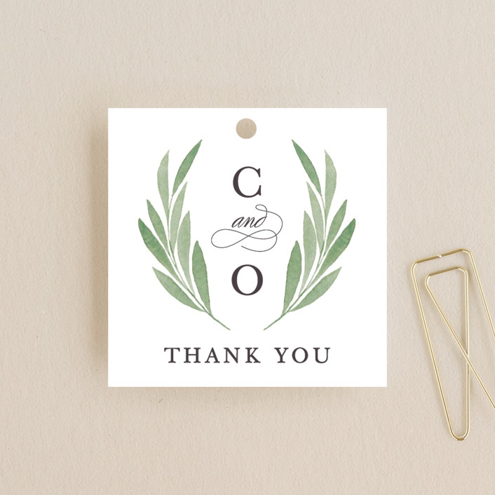 """Garden Square"" - Wedding Favor Tags in Basil by Olivia Raufman."