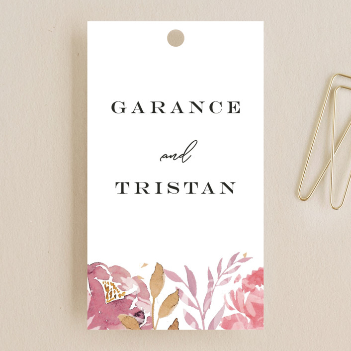 """Grand Bloom"" - Wedding Favor Tags in Mauve by Bonjour Paper."