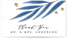 This is a blue wedding favor tag by Joanna Griffin called Paradise with standard printing on signature in tag.