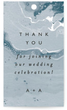This is a blue wedding favor tag by Alethea and Ruth called swirl with standard printing on signature in tag.