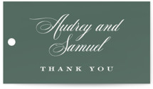 This is a green wedding favor tag by Carrie ONeal called Roman Shade with standard printing on signature in tag.