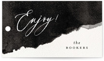 This is a black and white wedding favor tag by Pink House Press called Inky with standard printing on signature in tag.