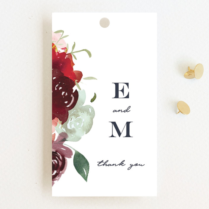 """Cascading Florals"" - Wedding Favor Tags in Rouge by Leah Bisch."