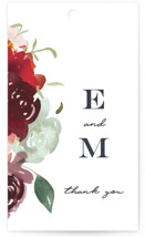 This is a green wedding favor tag by Leah Bisch called Cascading Florals with standard printing on signature in tag.
