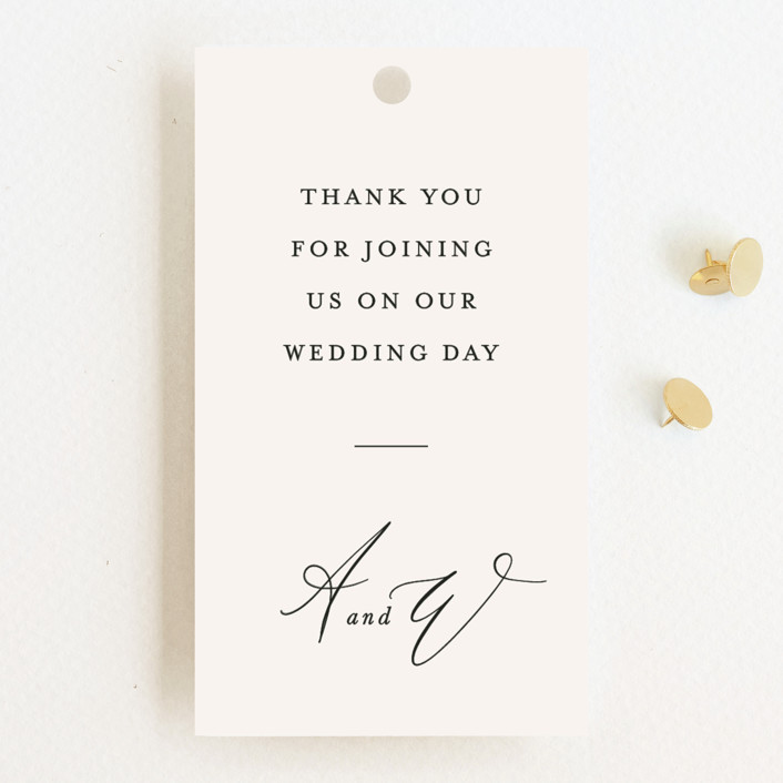 """""""Timeless"""" - Wedding Favor Tags in Taupe by Leah Bisch."""