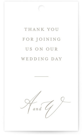 This is a classic and formal, white Wedding Favor Tags by Leah Bisch called Timeless with Standard printing on Signature in Tag Flat Card format. Add the perfect finishing touch to all of your wedding gifts with these chic and ...