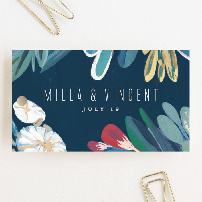 """Floral Burst"" - Wedding Favor Tags in Ocean by Morgan Ramberg."