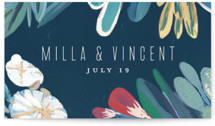 This is a blue wedding favor tag by Morgan Ramberg called Floral Burst with standard printing on signature in tag.