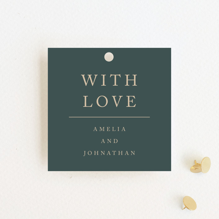 """Simply Modern"" - Modern Wedding Favor Tags in Jade by Something Noir."