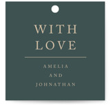 This is a green wedding favor tag by Something Noir called Simply Modern with standard printing on signature in tag.