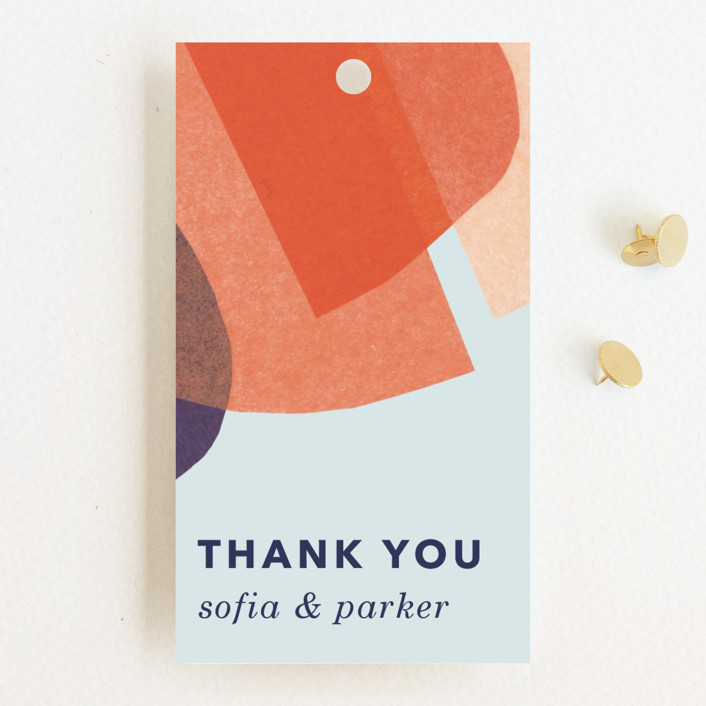 """""""tissue texture"""" - Modern Wedding Favor Tags in Papaya by Carrie Moradi."""