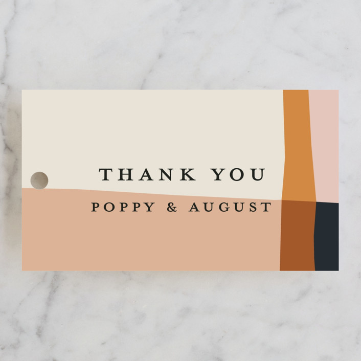 """""""Color Block"""" - Modern Wedding Favor Tags in Peach by Morgan Kendall."""