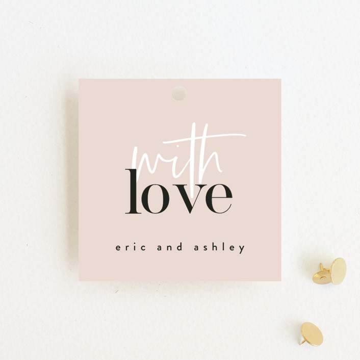 """""""Loved"""" - Wedding Favor Tags in Champagne by Angela Garrick."""