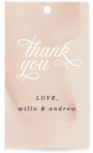 This is a white wedding favor tag by Anna Elder called Romance with standard printing on signature in tag.