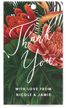 This is a green wedding favor tag by Elly called Tropical Bouquet with standard printing on signature in tag.