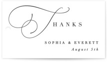 This is a white wedding favor tag by Hooray Creative called Flowing Initials with standard printing on signature in tag.