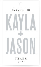 This is a white wedding favor tag by Jessie Steury called Monumental with standard printing on signature in tag.