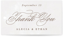 This is a brown wedding favor tag by Hooray Creative called Sonesta with standard printing on signature in tag.
