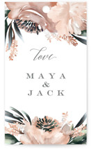This is a green wedding favor tag by Petra Kern called Maya Rustica with standard printing on signature in tag.