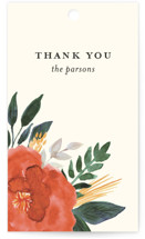 This is a green wedding favor tag by Beth Schneider called Flourishing with standard printing on signature in tag.