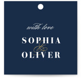 This is a blue wedding favor tag by Brandy Folse called Bold Love with standard printing on signature in tag.