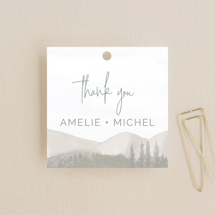 """muted mountains"" - Rustic Wedding Favor Tags in Splendid Day by Deborah Chou."