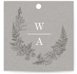 This is a grey wedding favor tag by Baumbirdy called Floral Frame Sketch with standard printing on signature in tag.