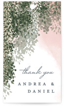 This is a green wedding favor tag by Cassandra Imagines called veil sweet with standard printing on signature in tag.