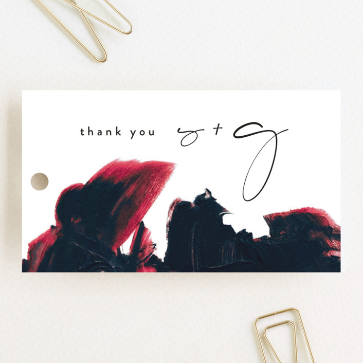 """""""living coral"""" - Modern Wedding Favor Tags in Coral by Phrosne Ras."""