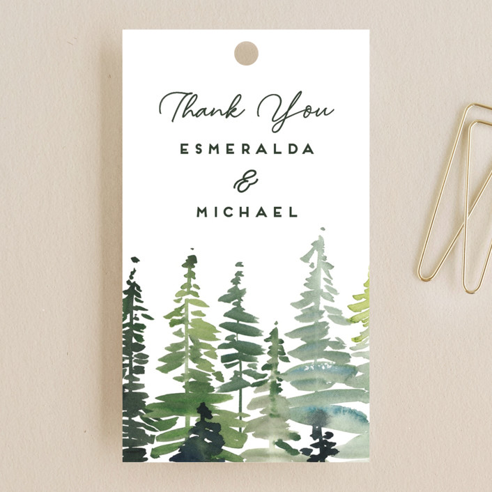"""Evergreens Watercolor"" - Wedding Favor Tags in Forest by Yao Cheng Design."