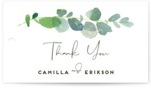 This is a green wedding favor tag by Yao Cheng Design called Soft Eucalyptus with standard printing on signature in tag.