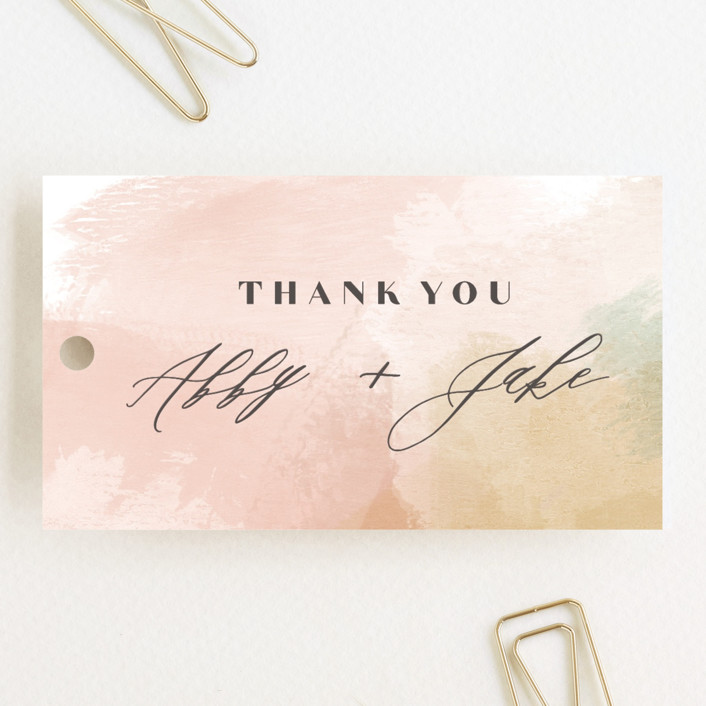 """Morning Mist"" - Modern Wedding Favor Tags in Blush by Carrie ONeal."